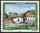 Italy - Circa 2010: A Stamp Printed In Italy Shows Courmayeur, Circa 2010