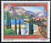 Italy - Circa 1981: A Stamp Printed In Italy Shows Riva Del Garda, Circa 1981