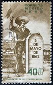 MEXICO - CIRCA 1962: A stamp printed in Mexico dedicated to the battle of May 5 1862