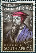 REPUBLIC OF SOUTH AFRICA - CIRCA 1964: A stamp printed in RSA shows John Calvin