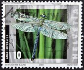 SWITZERLAND - CIRCA 2002: A stamp printed in Switzerland shows a dragonfly Anax imperator circa 2002