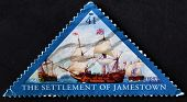United States Of America - Circa 2007: A Stamp Printed In Usa Shows The Settlement Of Jamestown