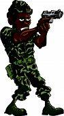 Cartoon soldier with a hand gun.