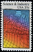 United States - Circa 1983: A Stamp Printed In Usa Dedicated To Science And Industry Shows Machinery