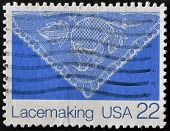 A stamp printed in USA shows image of the dedicated to the Lace