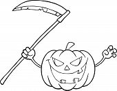 Back And White Scaring Halloween Pumpkin With A Scythe