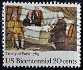 Usa - Circa 1983 : A Stamp Printed In The Usa Shows Treaty Of Paris 1783, Circa 1983
