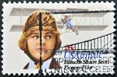 A stamp printed in the USA shows image of Blanche Stuart Scott the aviation pioneer