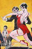 Colorful street art of tango