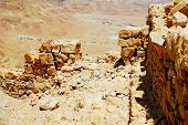 stock photo of masada  - Wall fragment of ancient fortress - JPG