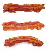 image of bacon  - cooked slices of bacon isolated on white - JPG