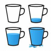 Empty and full mug. Vector illustration