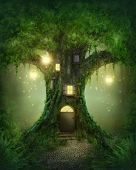 stock photo of fog  - Fantasy tree house in dark green forest - JPG