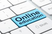 Education concept: Online Education on computer keyboard backgro
