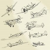 stock photo of propeller plane  - hand drawn old airplanes - JPG