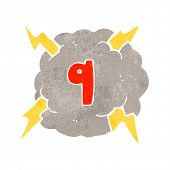 retro cartoon thundercloud with number