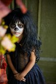 pic of antichrist  - Portrait of spooky girl in Halloween attire looking at camera - JPG