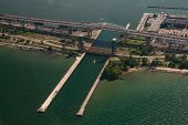 stock photo of skyway bridge  - Aerial Of Skyway Bridge Along Lake Ontario lakeshore - JPG