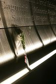 JERSEY CITY, NJ - SEPTEMBER 11: A white rose is shown within the Empty Sky 9/11 Memorial on Septembe