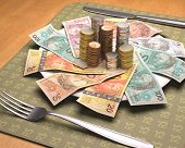 stock photo of brazilian money  - Dinner time with Brazilian money on the plate - JPG