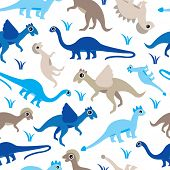 Seamless baby boys blue dinosaur types illustration background pattern in vector