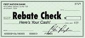 A green check with the words Rebate Check to illustrate a special money or cash back savings offer a