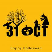 Scary Halloween background, banner or poster for trick or treat party with text 31 October, dead tre