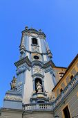WACHAU, AUSTRIA - AUGUST 12 : A blue bell tower at Durnstein Abbey (Stift Durnstein) on August 12, 2