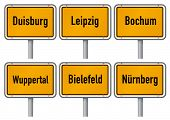 City limits signs of six major cities in Germany - Duisburg, Leipzig, Bochum, Wuppertal, Bielefeld a