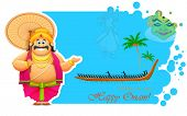 picture of onam festival  - illustration of King Mahabali enjoying Boat Race of Kerla on Onam - JPG