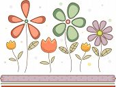 Colorful Illustration of Flowers with a Pastel Tinge Set Against an Off White Background