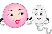 Mascot Illustration Featuring an Egg and Sperm Cell Holding Hands