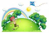 stock photo of hilltop  - Illustration of a boy playing with his kite at the hilltop on a white background - JPG