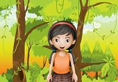 pic of hollow log  - Illustration of a cute girl at the forest with an orange sando - JPG