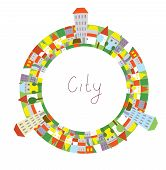 Cartoon of city circle frame with funny houses