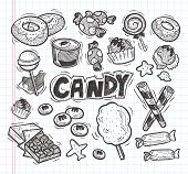picture of candy cotton  - set of doodle candy icons