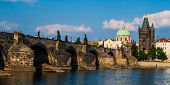 Charles Bridge And Old Town Bridge Tower In Prague
