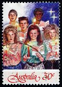 Postage Stamp Australia 1987 Six Youths, Christmas Carolers