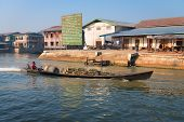 Wooden Shipping Motor Boat On Inle Lake, Myanmar (burma)