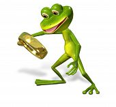 foto of glass frog  - 3d illustration merry green frog with magnifying - JPG