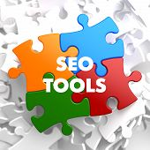 SEO Tools on Multicolor Puzzle.