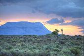 Windpump And Mountain Landscape