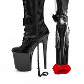 stock photo of black heel  - Black high heel platform boots tramp rose bdsm - JPG