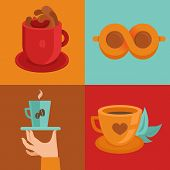 Vector Coffee Concepts And Signs In Flat Style