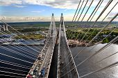 Traffic On Cable-stayed Bridge, View From The Air.
