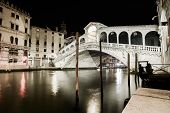 Venice Grand Canal, Rialto Bridge Night View. Italy