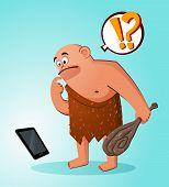 caveman found a gadget