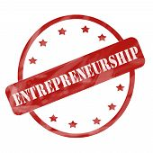 Red Weathered Entrepreneurship Stamp Circle And Stars