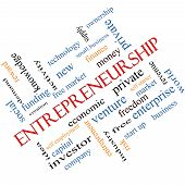 stock photo of entrepreneurship  - Entrepreneurship Word Cloud Concept angled with great terms such as economic private venture and more - JPG