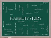 Feasibility Study Word Cloud Concept On A Blackboard